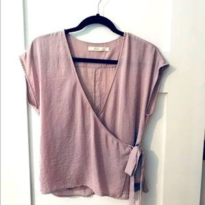 Light mauve wrap blouse